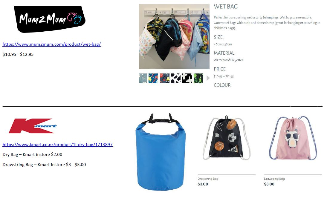 Wet Bag - Options